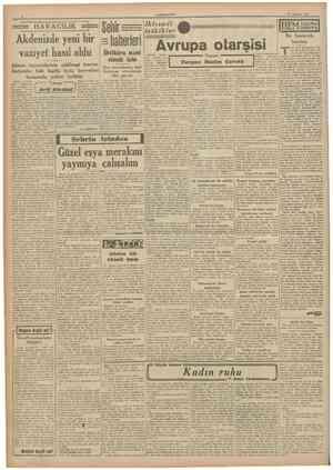 CUMHURÎYET 15 Ağustos 1941 HAVACILIK Akdenizde yeni bir vaziyet hasıl oldu geri alındığını ve burasının İtalyan...