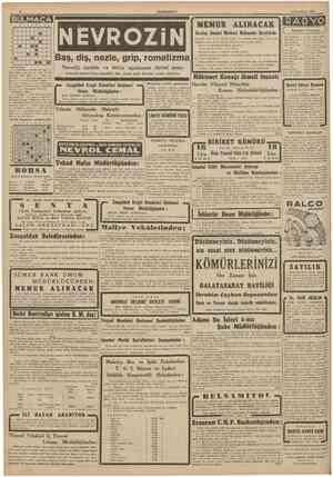 CUMHURÎYET 8 tkinciteşrin 1941 BULMACA   1 • ! NENUR ALINÂCAK Kızılay Umumî Merkezi Muhasebe Servisinde Çahşmak üzere 90 ve
