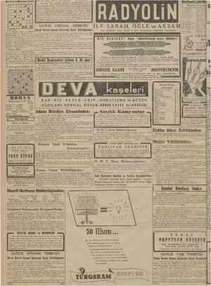 CUMHURIYET 6 Ikincikânun 1942 BULMACA 3 ayda Biçki Dikiş. 8 9 Tesis tarlhi: 1930. Müdiresi: E L E N İ ÇORBACIOGLU. En son ve