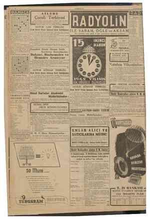 CUMHURİY£T 12 tkmcîkânun 1942 BULMACA 3 4 8 • • 0 •! B 9 Çocuk Terbiyesi Küçük çocukların terbiyesini salâhiyetli kalemile