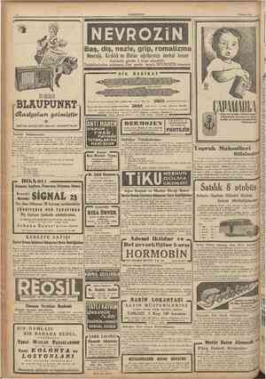 CUMHURIYET 6 Şubat 1944 Baş, diş, nezle, grip, romatizma Icabında günde 3 kaşe aîınabilir. Taklidîerinden sakınınız. Her...