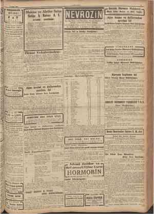16 Şufcat 1944 CUMHURİYET ı KUNDURACILARA • MÜJDE: İN G İ L İ Z P AP G E L MENŞELİ I Makine ye Aletler Satışı I Türkiye İş