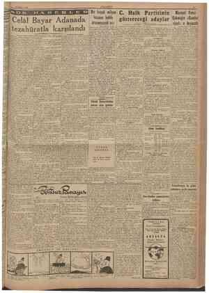 30 Haziran 1946 CUMHURIYET O IV H A B Adanada Celâl tezahüratla karsılandı Baştarafı 1 inei safıifede tı çekilmesine rağmen