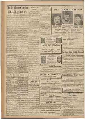 """CUMHURİYET 17 Razîran 194ı """"Ruslar Macaristanı tam manasile soyuyorlar,, Sehrin su derdi Baştarajt 1 inci sahifede şa..."""