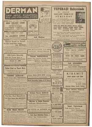 10 Eylul 1947 C L M I l l KJVK'l Şl Bahçesinde BU AKŞAM GRİP • NEZLE ROMATİZKÂ BAŞveDİŞ AĞRILARINA KARŞI Nişantaş, Çmar...