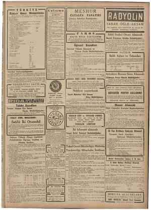 11 Evlul 1947 i.i T Ü R K İY E KIZILAY Sıtma ilâclarî : Ouinine emlahı (Sulfate, Bromhydrate, Chlorhydrate; Tannate; Comprime