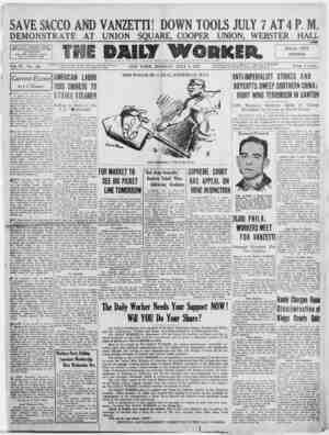 The Daily Worker Gazetesi 4 Temmuz 1927 kapağı