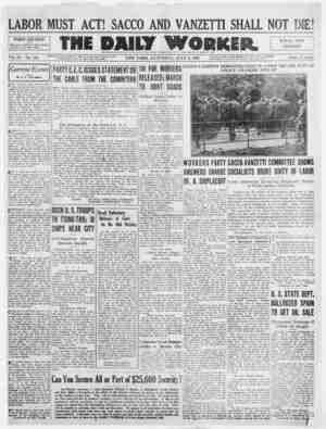The Daily Worker Gazetesi 9 Temmuz 1927 kapağı