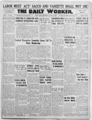 The Daily Worker Gazetesi 14 Temmuz 1927 kapağı