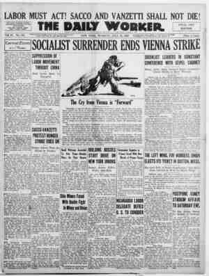 The Daily Worker Gazetesi 19 Temmuz 1927 kapağı