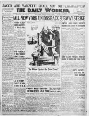 The Daily Worker Gazetesi 22 Temmuz 1927 kapağı