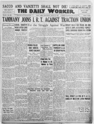 The Daily Worker Gazetesi 23 Temmuz 1927 kapağı