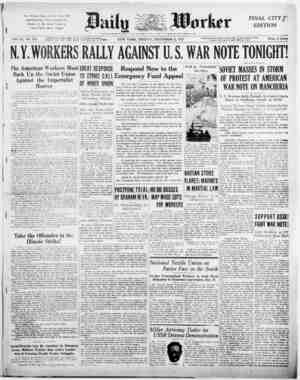 """The Working Class of New York Will Deliver Its Own """"Note to Stimson"""" in Defense of the Soviet Union at Central Opera House"""