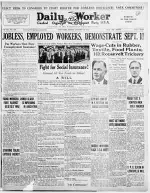 ELECT REDS TO CONGRESS TO FIGHT HOOVER FOR JOBLESS INSURANCE; VOTE COMMUNIST! Rally in the streets on September First! Carry