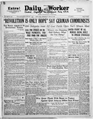 """Extra! Special Wire: Statement of the Communist Party of Germany Vol. VIII, No. 170 """"REVOLUTION IS ONLY HOPE"""" SAY GERMAN..."""