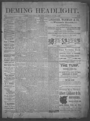 Deming Headlight Gazetesi 4 Ocak 1890 kapağı