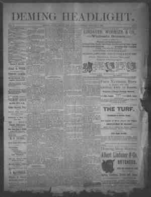 Deming Headlight Gazetesi 11 Ocak 1890 kapağı