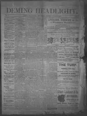 Deming Headlight Gazetesi 18 Ocak 1890 kapağı