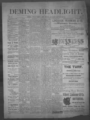 Deming Headlight Gazetesi 25 Ocak 1890 kapağı