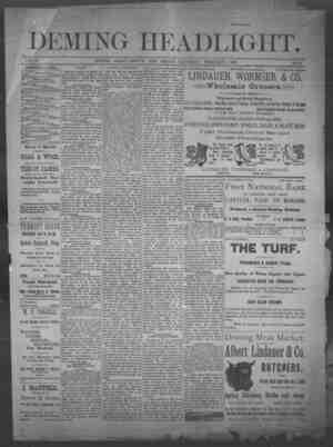 Deming Headlight Gazetesi 1 Şubat 1890 kapağı