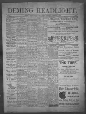 Deming Headlight Gazetesi 8 Şubat 1890 kapağı