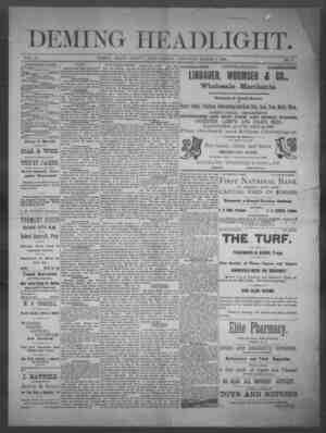 Deming Headlight Gazetesi 1 Mart 1890 kapağı