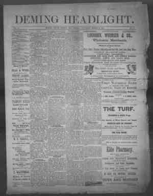 Deming Headlight Gazetesi 15 Mart 1890 kapağı