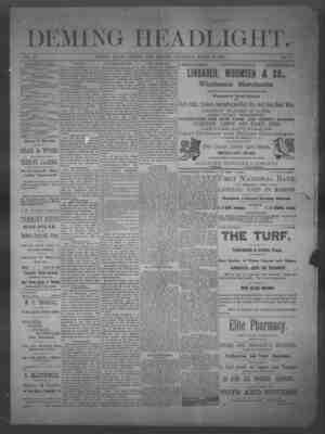 Deming Headlight Gazetesi 22 Mart 1890 kapağı