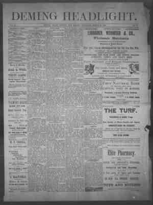 Deming Headlight Gazetesi 29 Mart 1890 kapağı