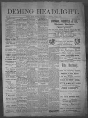 Deming Headlight Gazetesi 12 Nisan 1890 kapağı