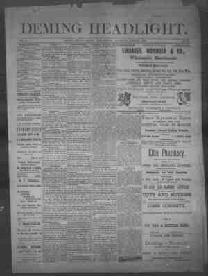 Deming Headlight Gazetesi 19 Nisan 1890 kapağı