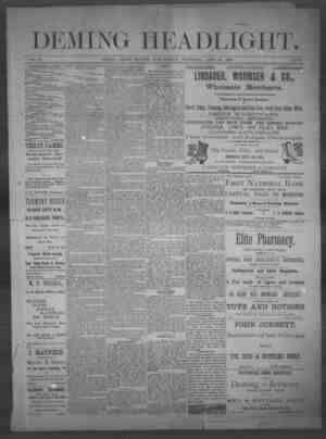 Deming Headlight Gazetesi 26 Nisan 1890 kapağı