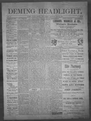 Deming Headlight Gazetesi 3 Mayıs 1890 kapağı