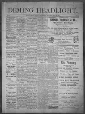 Deming Headlight Gazetesi 10 Mayıs 1890 kapağı