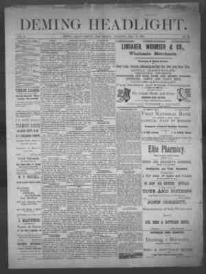Deming Headlight Gazetesi 17 Mayıs 1890 kapağı