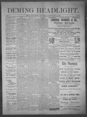 Deming Headlight Gazetesi 24 Mayıs 1890 kapağı