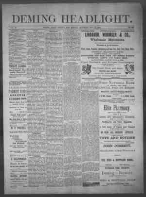 Deming Headlight Gazetesi 31 Mayıs 1890 kapağı