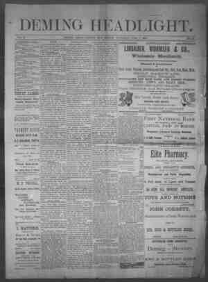 Deming Headlight Gazetesi 7 Haziran 1890 kapağı