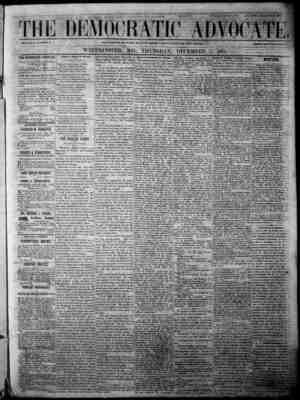The Democratic Advocate Gazetesi 7 Aralık 1865 kapağı