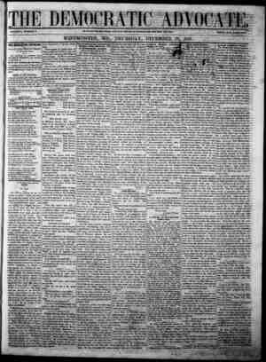 The Democratic Advocate Gazetesi 28 Aralık 1865 kapağı