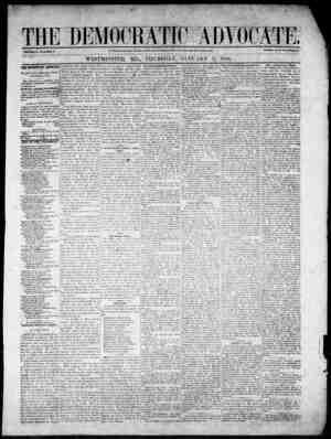 The Democratic Advocate Gazetesi 11 Ocak 1866 kapağı