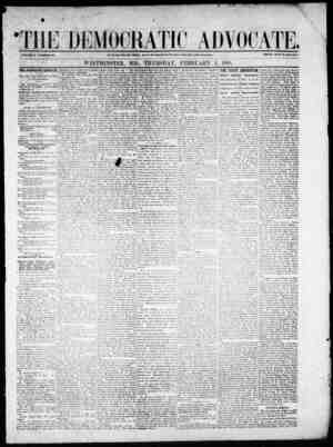 The Democratic Advocate Gazetesi 1 Şubat 1866 kapağı