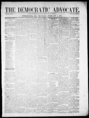 The Democratic Advocate Gazetesi 8 Şubat 1866 kapağı