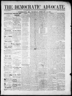 The Democratic Advocate Gazetesi 15 Şubat 1866 kapağı
