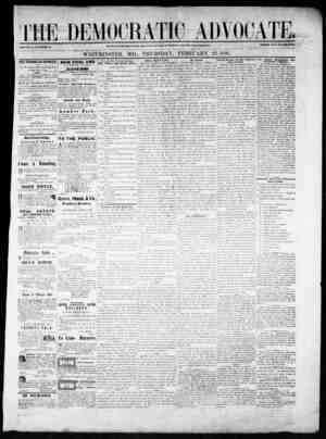 The Democratic Advocate Gazetesi 22 Şubat 1866 kapağı
