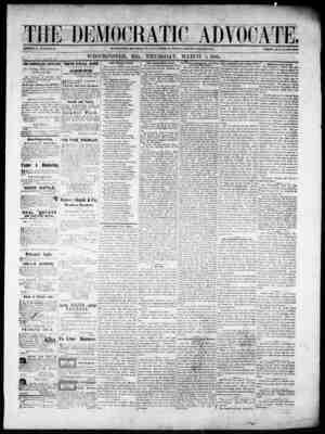 The Democratic Advocate Gazetesi 1 Mart 1866 kapağı