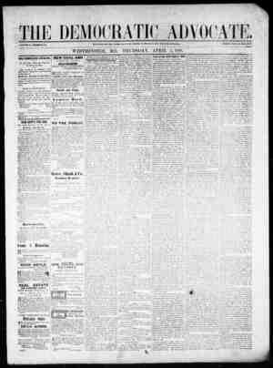 The Democratic Advocate Gazetesi 5 Nisan 1866 kapağı