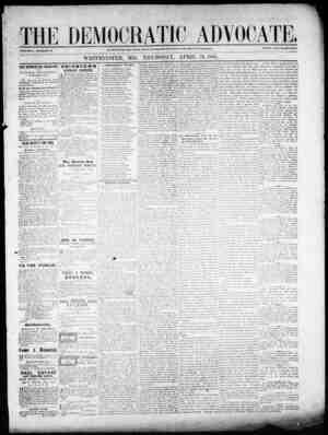 The Democratic Advocate Gazetesi 19 Nisan 1866 kapağı