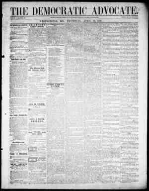 The Democratic Advocate Gazetesi 26 Nisan 1866 kapağı