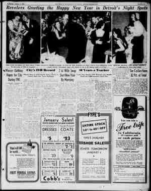 "Wednesday, January 1, 1941 Revelers Greeting the Happy New Year in Detroit's Night Spots a ""' ? V jfl I : s C»»yrl*ht by..."